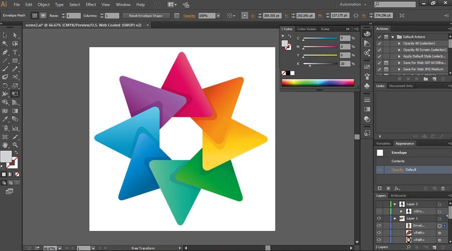 فضای کاری نرم افزار Adobe Illustrator